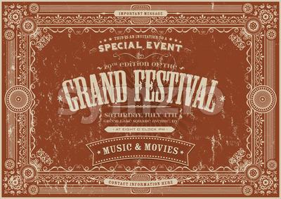 Vintage Retro Festival Poster Background Stock Photo
