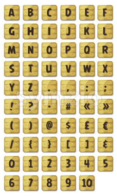 Alphabet Font Set On Wood Signs Stock Vector