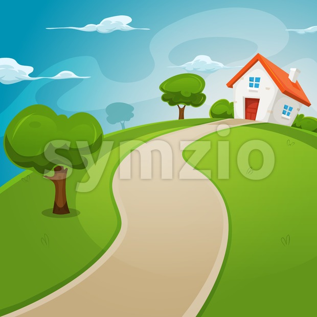 House Inside Green Fields Stock Vector
