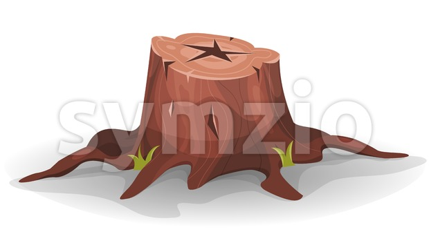 Comic Tree Stump Stock Vector