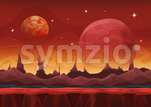 Fantasy Seamless Sci-fi Martian Landscape For Ui Game Stock Vector