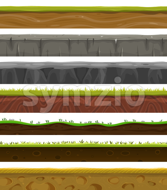 Seamless Grounds, Soil And Grass For Ui Game Stock Vector