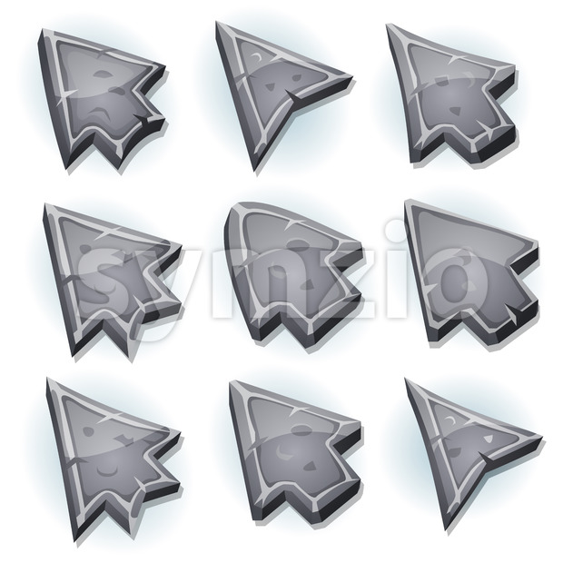 Illustration of a set of funny cartoon design stone and rock computer icons, cursor and arrows signs for funny ui ...