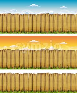 Seamless Spring Or Summer Wood Fence Stock Photo