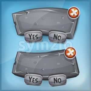 Cartoon Rock And Stone Agreement Panel For Ui Game Stock Vector