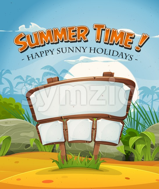 Summer Holidays Beach Landscape With Wood Sign Stock Vector