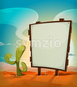 Summer Mexican Desert With Wood Sign Stock Vector