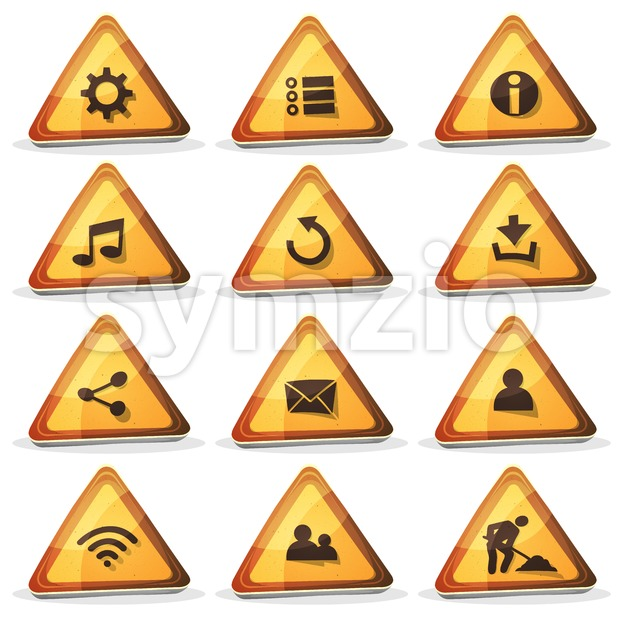 Illustration of a set of cartoon comic triangle warning web and road signs ui game icons and buttons elements, with ...