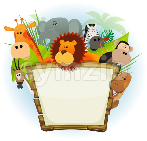 Wild Animals Zoo Wood Sign Stock Vector