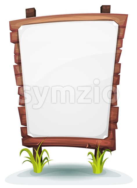 White Paper Sign On Wood Panel Stock Vector