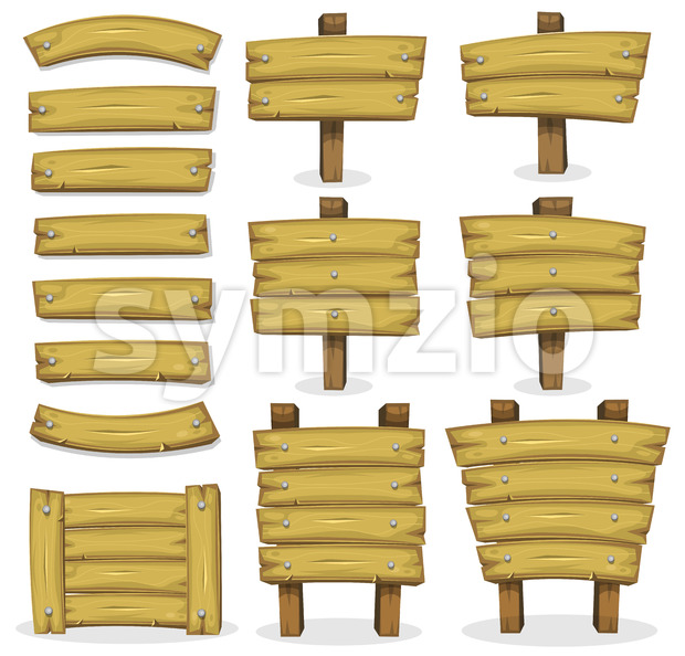 Wood Banners, Panels And Signs For Ui Game Stock Vector