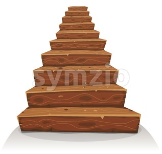 Cartoon Wood Stairs Stock Vector