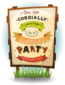 Barbecue Party Invitation On Wood Sign Stock Vector
