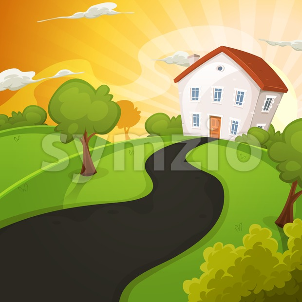 Illustration of a cartoon house in spring or summer season, inside green landscape with sun shining