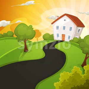 Summer House Inside Green Fields In Sunrise Stock Vector
