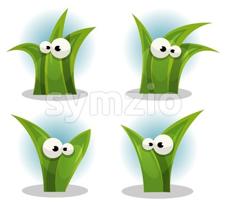 Cartoon Funny Grass Leaves Characters Stock Vector