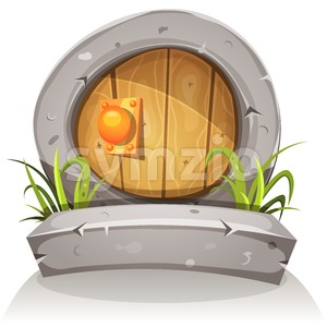 Cartoon Wooden And Stone Hobbit Door For Ui Game Stock Vector