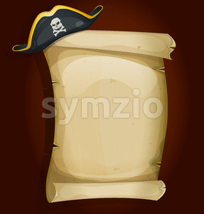 Pirate Hat On Old Parchment Scroll Stock Vector