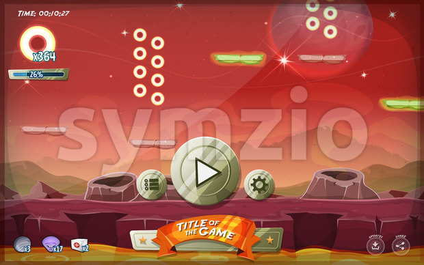 Scifi Platform Game User Interface For Tablet Stock Vector
