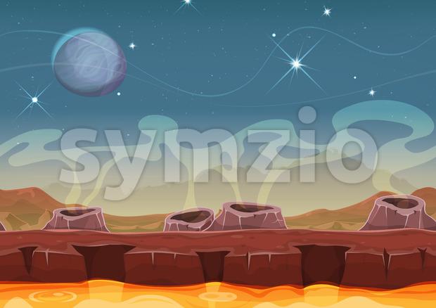 Fantasy Alien Planet Desert Landscape For Ui Game Stock Vector