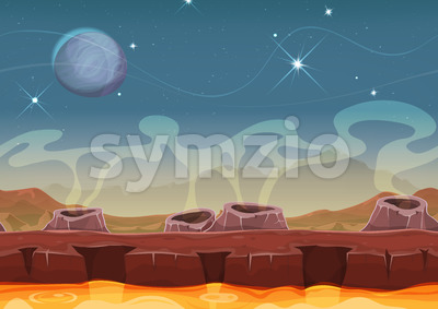 Fantasy Alien Planet Desert Landscape For Ui Game Stock Vector
