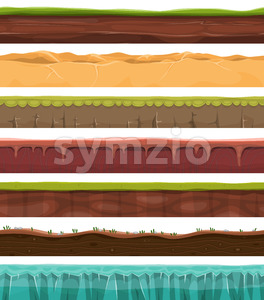 Seamless Grounds, Land And Soil For Ui Game Stock Vector