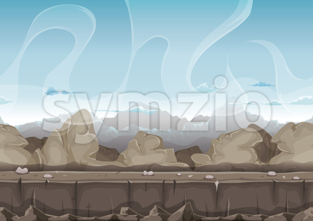 Illustration of a seamless cartoon desert stones, rocks and boulders landscape, with layers for parallax and high mountains range background ...