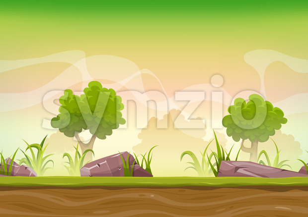 Seamless Forest Landscape For Ui Game Stock Vector