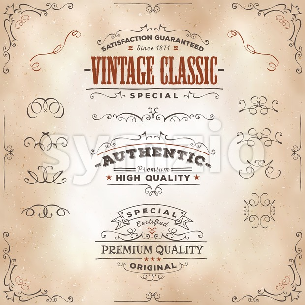 Hand Drawn Vintage Banners And Ribbons Stock Vector