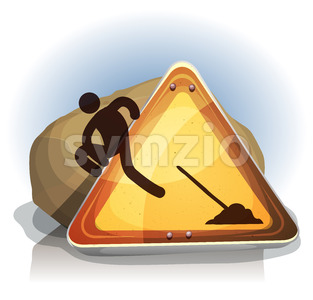 Men At Work Escaping From Road Sign Stock Vector