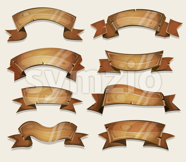 Cartoon Wood Banners And Ribbons For Ui Game Stock Photo