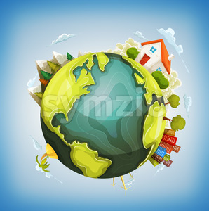 Earth Planet With Home, Nature And City Around Stock Vector