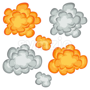 Comic Book Explosion, Clouds And Smoke Set Stock Vector