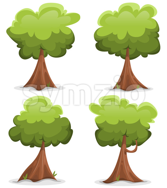 Green Funny Trees Set Stock Vector