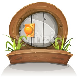 Cartoon Wooden And Stone Rounded Door For Ui Game Stock Vector