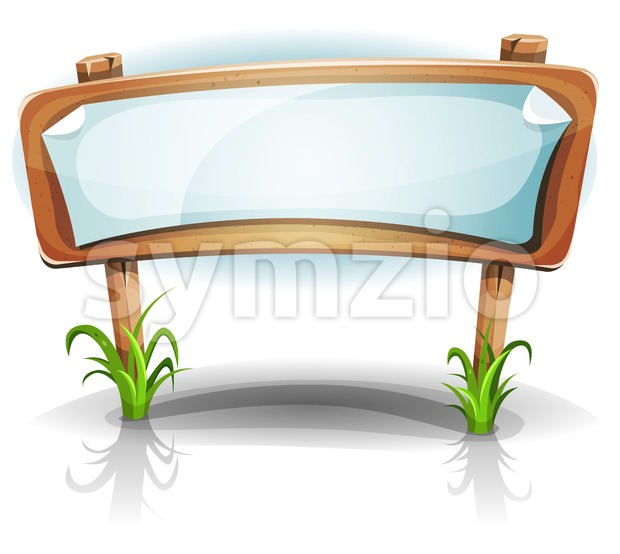 Illustration of a cartoon comic spring rural wood sign with paper, for welcome message, communication and advertisement