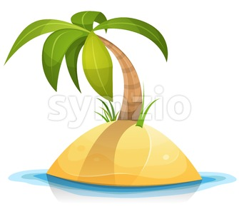 Palm Tree On Tropical Desert Island Stock Vector