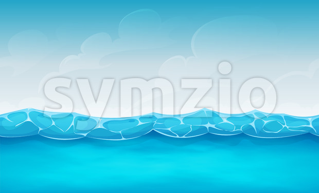 Seamless Summer Ocean Background For Ui Game Stock Vector