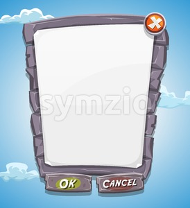Cartoon Big Stone Agreement Panel For Ui Game Stock Vector
