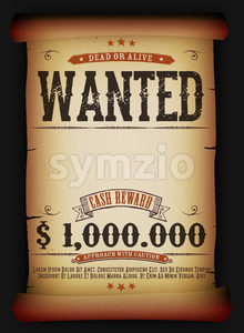Wanted Vintage Poster On Old Parchment Stock Photo