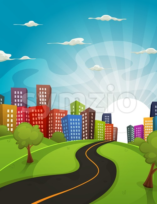Downtown Cartoon Landscape Stock Vector