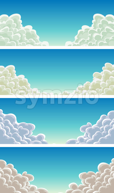 Cloudscape Set On Blue Sky Background Stock Vector