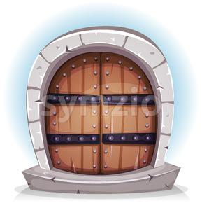 Cartoon Medieval Wood And Stone Door Stock Vector