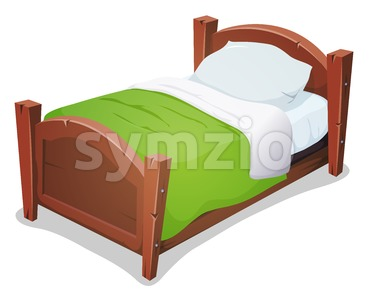 Wood Bed With Green Blanket Stock Vector