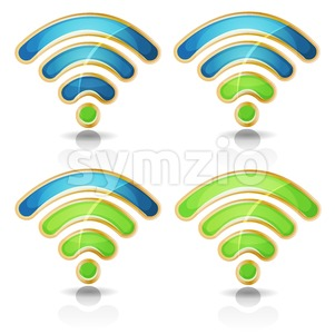Wifi Icons Set For Tablet PC Ui Game Stock Vector