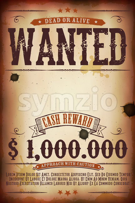 Wanted Vintage Western Poster Stock Vector