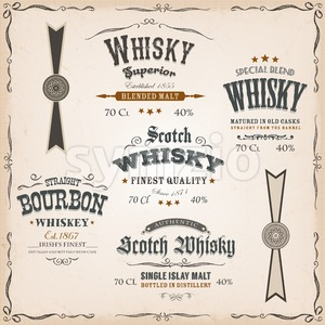 Whisky Labels And Seals On Vintage Background Stock Vector