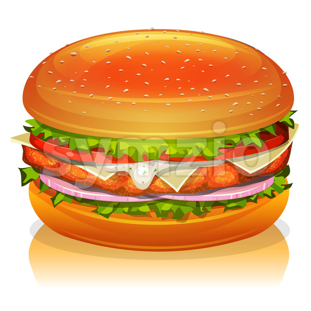 Chicken Burger Icon Stock Vector