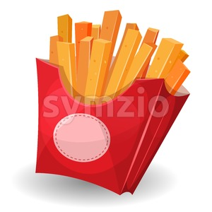 French Fries Inside Red Package Stock Vector