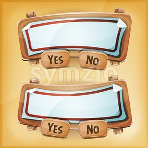 Cartoon Cardboard Agreement Panel For Ui Game Stock Vector